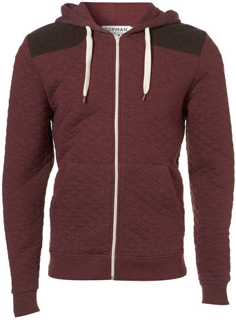 Burgundy Quilted Cord Patch Hoody