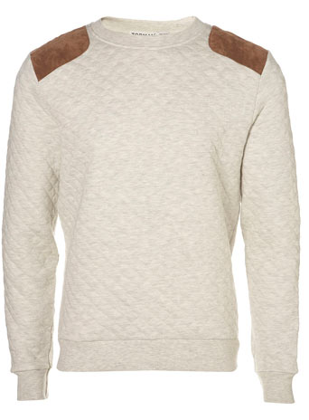 Stone Marl Quilted Patch Sweatshirt