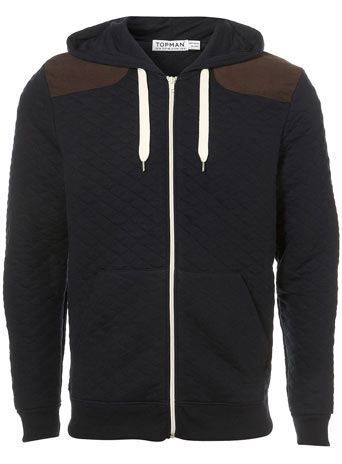 Navy Quilted Cord Patch Hoody