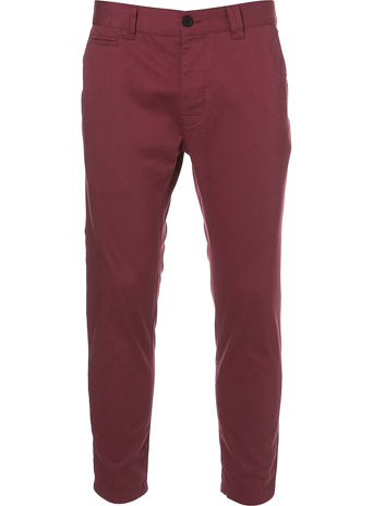 Burgundy Ankle Grazer Chinos  -  Price: £28.00