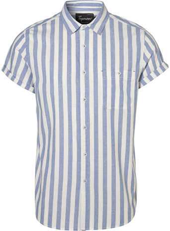 Blue Wide Stripe Oxford Short Sleeve Shirt   -  Price: £26.00