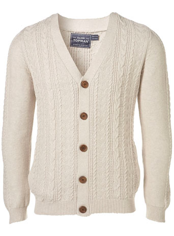 Oat Cable Vee Cardigan - £40