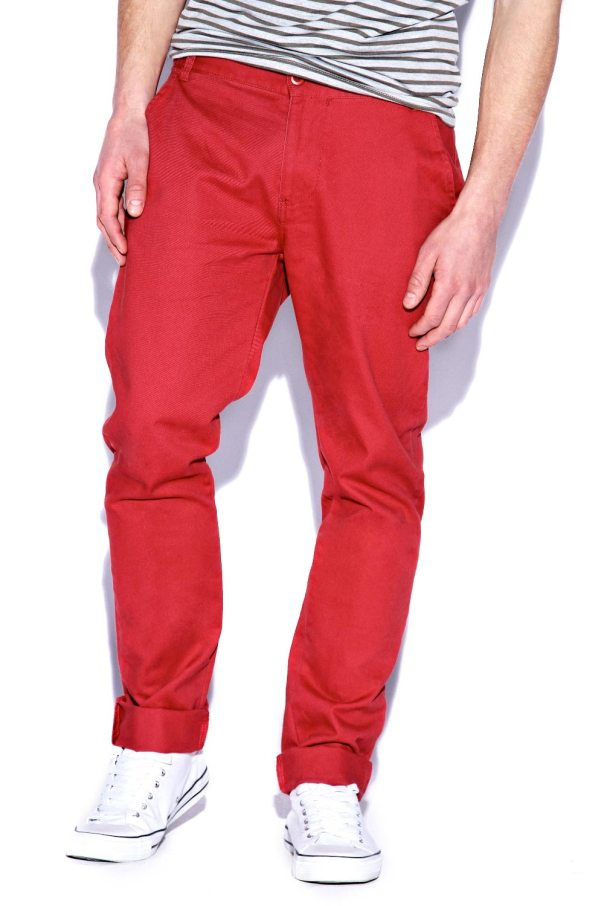 Red Cotton Slim Chinos