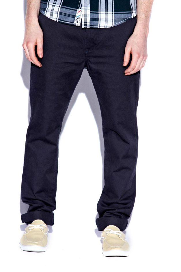 Navy Cotton Slim Chinos