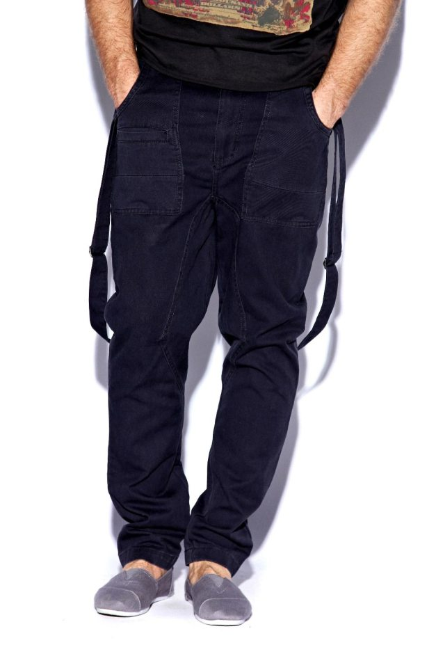 Navy Strap Drop Crotch Chinos