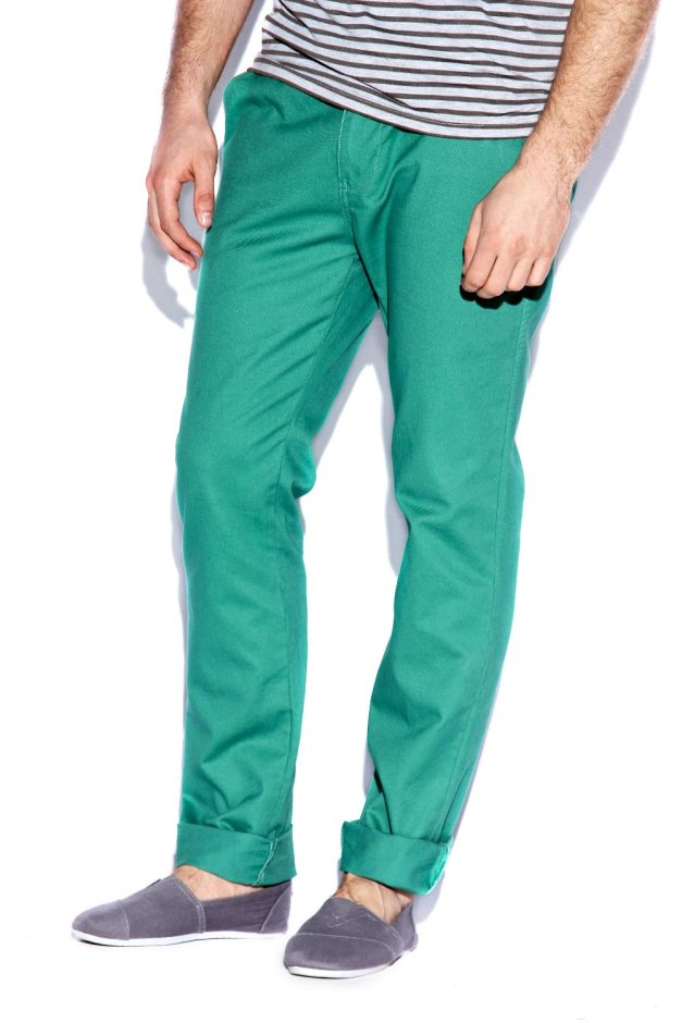 Electric Green Cotton Slim Chinos