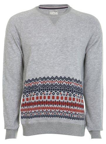 Grey Marl Pattern Panel Crew Sweatshirt Was £25.00 Now £10.00