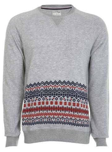 Grey Marl Pattern Panel Crew Sweatshirt Was £25.00 Now £10.00