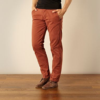 Designer dark orange straight leg chinos - £40