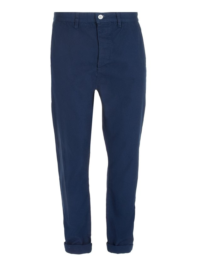 NAVY CANVAS CARROT TROUSERS