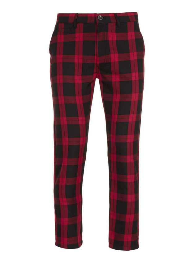 RED/BLACK TARTAN CHECK CROPPED SKINNY CHINOS